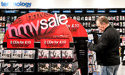 © under license to London News Pictures. 06/01/2011. HMV Worthing store which opened in September 2009. 60 HMV stores face the threat of closure following poor sales over Christmas due to poor Weather. Sales of the HMV chain fell by 13.3pc over the ten weeks to January 1.   Picture credit should read: Julie Edwards/London News Pictures