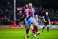 Levi Sutton of Scunthorpe United (22) scores a goal and celebrates to make the score 2-0 during the EFL Sky Bet League 1 match between Scunthorpe United and Coventry City at Glanford Park, Scunthorpe, England on 5 January 2019.