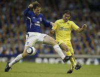 Photo: Aidan Ellis.<br /> Everton v Villarreal. UEFA Champions League Qualifying.<br /> 09/08/2005.<br /> Everton's Kevin kilbane and Villareal's Javier Rodriguez