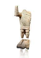 9th century BC Giants of Mont'e Prama  Nuragic stone statue of a boxer, Mont'e Prama archaeological site, Cabras. Museo archeologico nazionale, Cagliari, Italy. (National Archaeological Museum) - White Background .<br />  <br /> If you prefer to buy from our ALAMY STOCK LIBRARY page at https://www.alamy.com/portfolio/paul-williams-funkystock/nuragic-artefacts.html - Type intoo the LOWER SEARCH WITHIN GALLERY box to refine search by adding background colour, etc<br /> <br /> Visit our NURAGIC PHOTO COLLECTIONS for more photos to download or buy as wall art prints https://funkystock.photoshelter.com/gallery-collection/Nuragic-Nuraghe-Towers-Nuragic-Artefacts-of-Sardinia-Pictures-Images/C0000M6ZtTuHVsSo