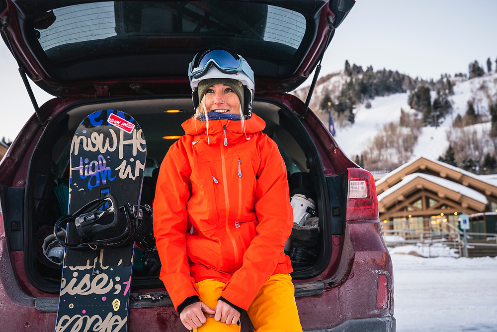 Jordan Chamberlain arrives to Snowbasin for a day of snowboarding.