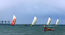 LISBON, Nov. 4, 2017  Dongfeng Race Team (1st L) competes with other teams during the In-port Race prior to the Volvo Ocean Race in Lisbon, Portugal, on Nov. 3, 2017. (Credit Image: © Zhang Liyun/Xinhua via ZUMA Wire)