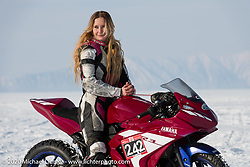 Computer engineer for work, super bike racer for fun, Katya (Ekaterina Kolpakova) on Mashka, her Yamaha r3 racer at the Baikal Mile Ice Speed Festival. Maksimiha, Siberia, Russia. Saturday, February 29, 2020. Photography ©2020 Michael Lichter.