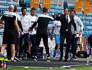 Derby County manager Phillip Cocu elbow instead of shanking hands with Gary Rowett manager of Millwall after  EFL Sky Bet Championship between Millwall and Derby County at The Den Stadium, London on 20th June, 2020.  (Photo by AFS/Espa-Images)