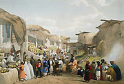 First Anglo-Afghan 1838-1842: Bazaar at Cabul (Kabul) during fruit season. Veiled women on right. Refreshment stall on left. From J Atkinson 'Sketches in Afghanistan' London 1842. Hand-coloured lithograph.
