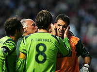 Photo. Andrew Unwin, Digitalsport<br /> Newcastle United v Sporting Lisbon, Uefa Cup Quarter Final First Leg, St James' Park, Newcastle upon Tyne 07/04/2005.<br /> Sporting's goalkeeper, Ricardo, receives treatment after a collision with Newcastle's Shola Ameobi
