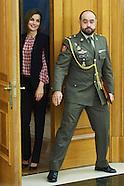 010816 Queen Letizia attends audiences at Zarzuela Palace
