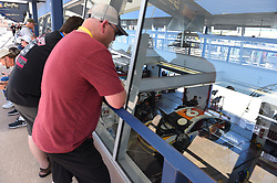 September 14, 2018 - Las Vegas, NV, U.S. - LAS VEGAS, NV - SEPTEMBER 14: Fans watch the car of Trevor Bayne (6) Roush Fenway Racing (RFR) Ford Fusion in the Neon Garage  during practice for the South Point 400 Monster Energy NASCAR Cup Series Playoff Race on September 14, 2018 at Las Vegas Motor Speedway in Las Vegas, NV. (Photo by Chris Williams/Icon Sportswire) (Credit Image: © Chris Williams/Icon SMI via ZUMA Press)