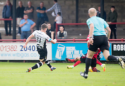Inverness Caledonian Thistle's Iain Vigurs (11) scoring their first goal. Half time : Brechin City 0 v 2 Inverness Caledonian Thistle, Scottish Championship game played 26/8/2017 at Brechin City's home ground Glebe Park.