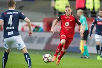 Fotball<br /> 29.04.2017<br /> Eliteserien<br /> Brann Stadion<br /> Brann - Viking<br /> Michael Ledger (L) , Viking<br /> Gilli Rolantsson (R) , Brann<br /> Foto: Astrid M. Nordhaug