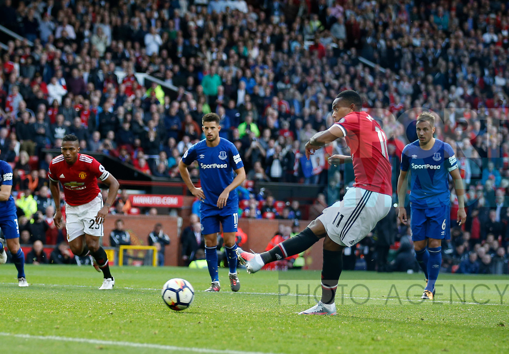 Anthony Martial of Manchester United scores from the penalty spot during the premier league match at the Old Trafford Stadium, Manchester. Picture date 17th September 2017. Picture credit should read: Simon Bellis/Sportimage