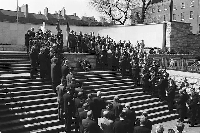 Picture shows attendees of the GAA Annual Congress at the Garden of Rememberance, Parnell Square, Dublin during a luncheon interval of congress...Annual Congress, GAA. 6.4.1969. 6th April 1969