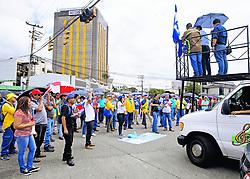 """October 3, 2018 - (04/10/2018) Albino Vargas (en la tarima) hablaba en la protesta, a la entrada de la ruta 32, cuando el equipo de La Nación fue sacado del sitio. PROHIBIDO EL USO O REPRODUCCIÃ""""N EN COSTA RICA. (Credit Image: © Albert MaríN/La Nacion via ZUMA Press)"""
