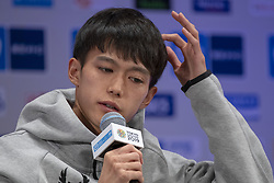 March 1, 2019 - Tokyo, Tokyo, Japan - Japan's Suguru Osako speaks during a press conference ahead of the Tokyo Marathon in Tokyo on March 1, 2019. The annual Tokyo Marathon will be held on March 3  (Credit Image: © Alessandro Di Ciommo/NurPhoto via ZUMA Press)