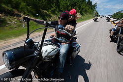 New York based tattoo artist Jack Kowalchyck riding his chopper on the Cycle Source Ride up Vanocker Canyon to Nemo during the Sturgis Black Hills Motorcycle Rally. SD, USA. Wednesday, August 7, 2019. Photography ©2019 Michael Lichter.