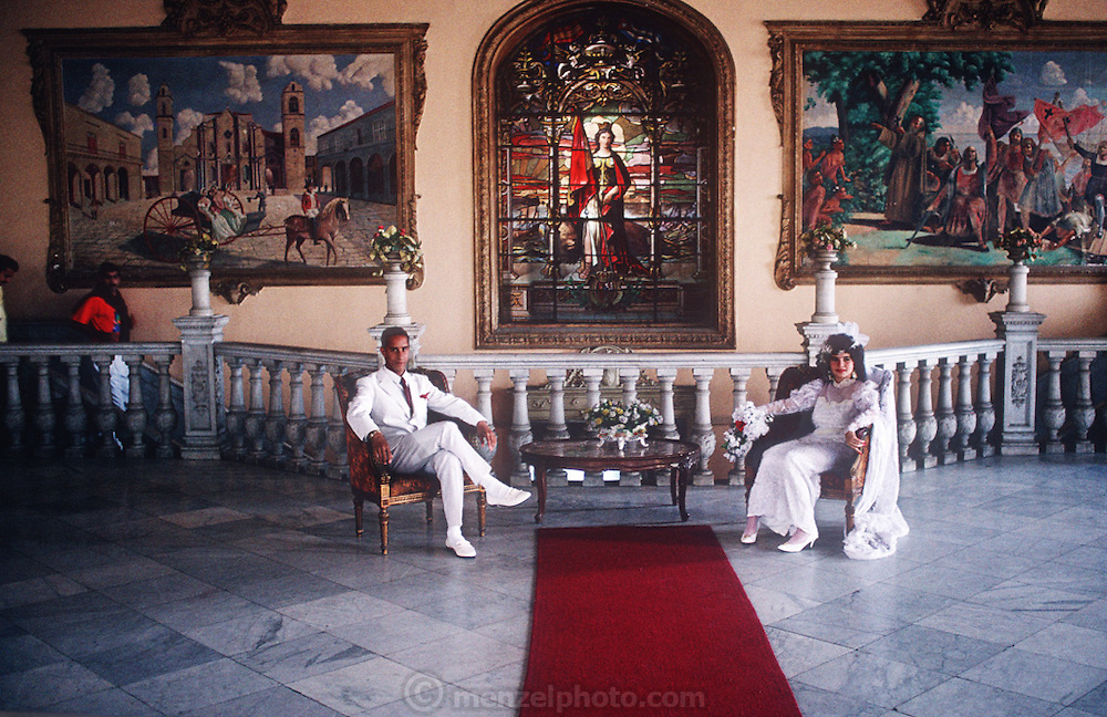 Palacio de Matrimonio (Marriage registry) in Havana, Cuba. Published in Material World: A Global Family Portrait, pages 104-105.