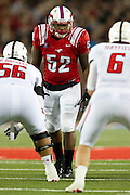 DALLAS, TX - AUGUST 30: Brandon Henderson #52 of the SMU Mustangs looks on against the Texas Tech Red Raiders on August 30, 2013 at Gerald J. Ford Stadium in Dallas, Texas.  (Photo by Cooper Neill/Getty Images) *** Local Caption *** Brandon Henderson