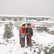 Visiting the only school in Laya village.