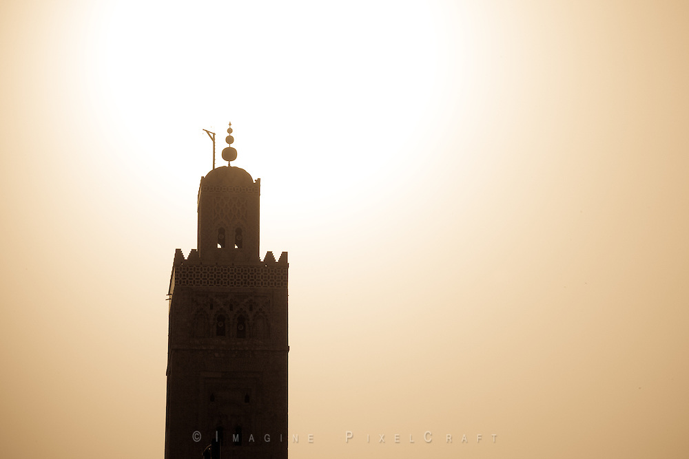 The minaret of the Koutoubia Mosque in Marrakech, Morocco.