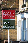 Location, Location. A property Sold sign outside a property on Cazenove Road, London, UK.