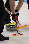 """Glasgow. SCOTLAND.  """"Sweeping"""", as an alignment point,  """"Round Robin"""" Game. Le Gruyère European Curling Championships. 2016 Venue, Braehead  Scotland<br /> Tuesday  22/11/2016<br /> <br /> [Mandatory Credit; Peter Spurrier/Intersport-images]"""