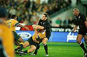 Mark Hammett makes a tackle. Australia v New Zealand All Blacks. Bledisloe Cup, international test match rugby union, Stadium Australia, Australia. 15 July 2000. © Copyright Photo: www.photosport.nz