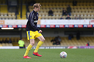 AFC Wimbledon Jack Rudoni (42) warming up during the EFL Sky Bet League 1 match between Southend United and AFC Wimbledon at Roots Hall, Southend, England on 16 March 2019.