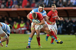 June 16, 2018 - Santa Fe, Argentina - Gareth Anscombe from Wales is tackled by Marcos Kremer (C) from Argentina during the International Test Match between Argentina and Wales at the Brigadier Estanislao Lopez Stadium, on June 16, 2018 in Sante Fe, Argentina. (Credit Image: © Javier Escobar/NurPhoto via ZUMA Press)