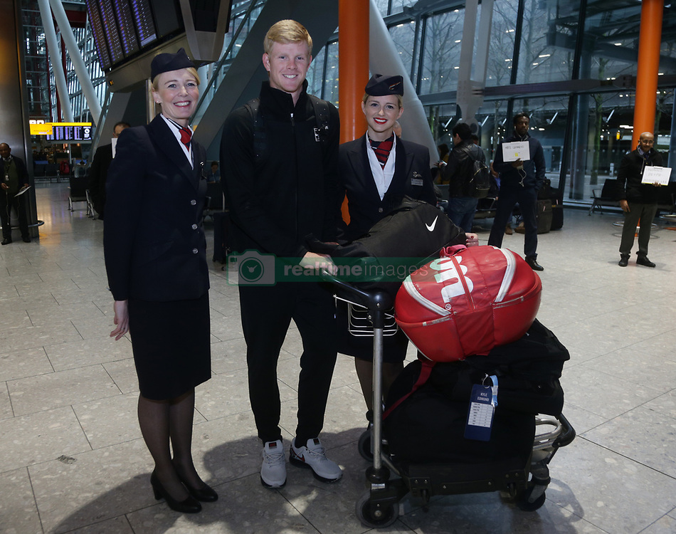 Great Britain's Kyle Edmund, flanked by BA Ambassadors Tina (right) and Jane, arriving back at Heathrow Airport, London, after exceeding expectations by reaching the semi final stage of the Australian Open in Melbourne earlier this week.