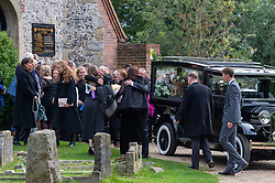 © Licensed to London News Pictures. 03/10/2019. High Wycombe, UK. Family and friends depart St Lawrence's Church in High Wycombe after the funeral of Libby Squire.<br /> Libby Squire was a 21-year-old Hull University student and originally from High Wycombe she disappeared after a night out in Hull on February 1st, 2019. After extensive searches her body was found close to Spurn Point on March 20th, 2019. Photo credit: Peter Manning/LNP