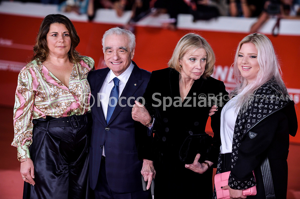 """ROME, ITALY - OCTOBER 21: Cathy Scorsese, Martin Scorsese, Helen Morris, Francesca Scorsese attends """"The Irishman"""" red carpet during the 14th Rome Film Festival on October 21, 2019 in Rome, Italy."""