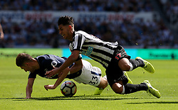 13 August 2017  : Premier League Football : Newcastle United v Tottenham Hotspur:  Ayoze Perez of Newcastle goes down after a challenge by Ben Davies (33):Photo: Mark Leech