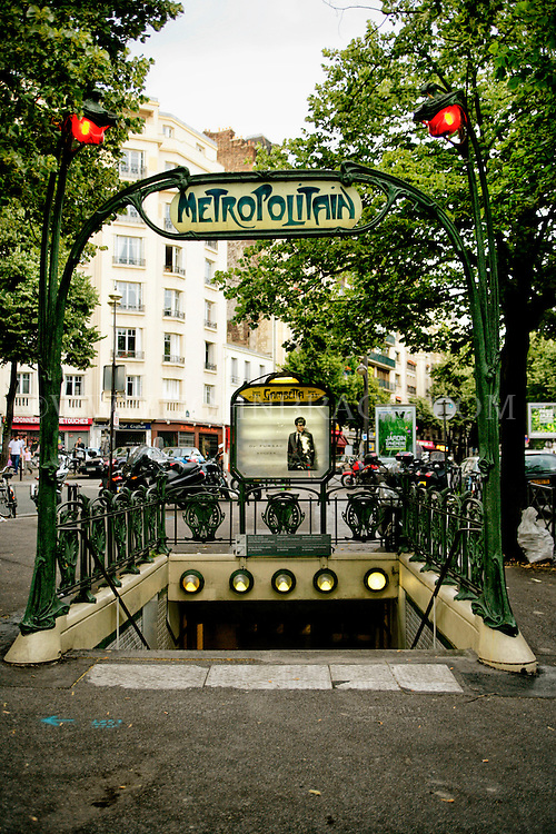 Gambetta entrance for the Paris Metro, Paris, France.