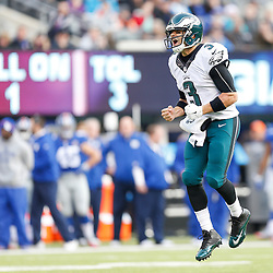 Philadelphia Eagles quarterback Mark Sanchez #3 reacts after an Eagles touchdown during the NFL game between the Philadelphia Eagles and the New York Giants at MetLife Stadium in East Rutherford, New Jersey on Sunday, December 24th 2014. The Eagles won 34-26. (Brian Garfinkel/Philadelphia Eagles)