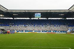 """08.08.2015, Schauinsland Reisen Arena, Duisburg, GER, DFB Pokal, MSV Duisburg vs Schalke 04, im Bild Choreo der Fans des MSV Duisburg """" Blau und Weiss sind unsere Farben, die wir heut und ewig tragen """" // during German DFB Pokal first round match between MSV Duisburg and Schalke 04 at the Schauinsland Reisen Arena in Duisburg, Germany on 2015/08/08. EXPA Pictures © 2015, PhotoCredit: EXPA/ Eibner-Pressefoto/ Thienel<br /> <br /> *****ATTENTION - OUT of GER*****"""