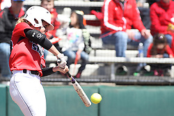 26 April 2015:   At bat is Annie Heineman during an NCAA Missouri Valley Conference (MVC) Championship series women's softball game between the Loyola Ramblers and the Illinois State Redbirds on Marian Kneer Field in Normal IL
