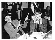 Edward Duke and Rupert Everett. Le Caprice. 1981 approx. © Copyright Photograph by Dafydd Jones 66 Stockwell Park Rd. London SW9 0DA Tel 020 7733 0108 www.dafjones.com