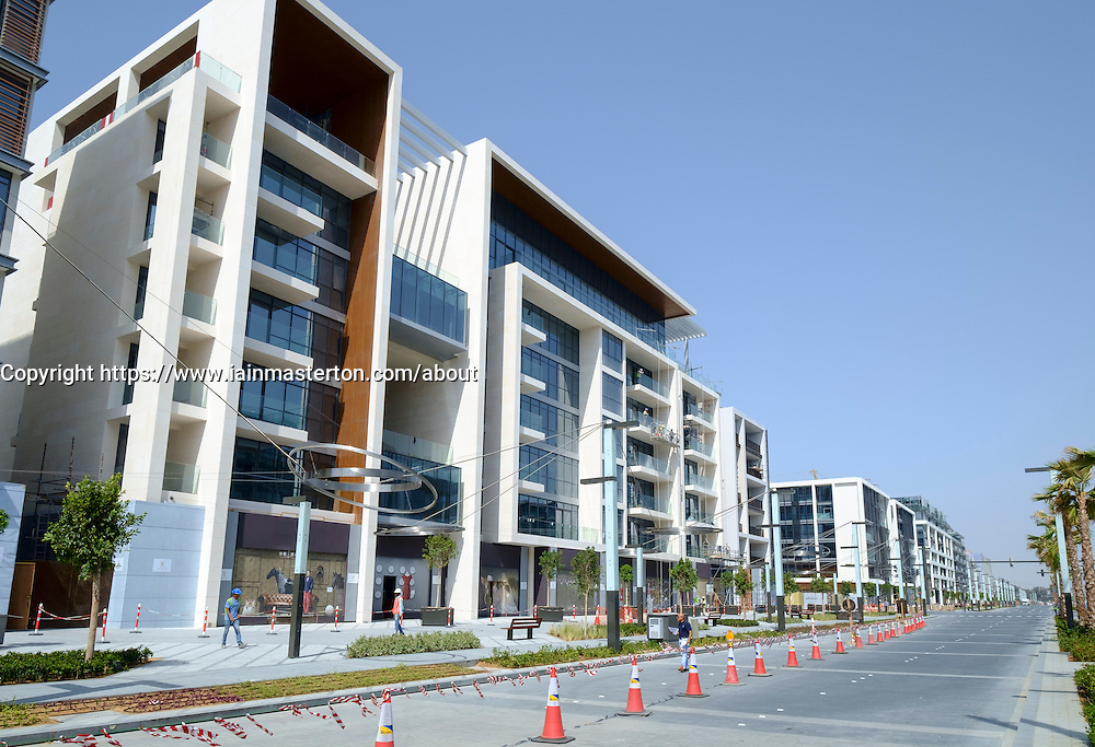 View of apartment buildings under construction at new residential district called Citywalk in Dubai United Arab Emirates