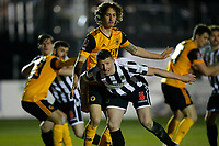 Football - 2020 / 2021 Emirates FA Cup - Round Four: Chorley vs. Wolverhampton Wanderers<br /> <br /> Scott Leather of Chorley tries to escape the clutches of Fabio Silva of Wolverhampton Wanderers at a Chorley corner kick, at Victory Park.<br /> <br /> COLORSPORT/ALAN MARTIN