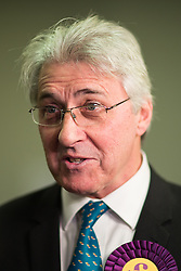 © Licensed to London News Pictures . 04/12/2015 . Oldham , UK . UKIP candidate JOHN BICKLEY being interviewed after finishing second at the Oldham West and Royton by-election , at the Queen Elizabeth Hall in Oldham . The by-election was called following the death of MP Michael Meacher . Photo credit : Joel Goodman/LNP