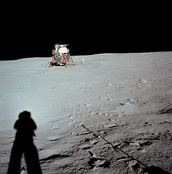Jul 20, 2017 - Moon Surface - July 20, 1969 - 48 years ago today - Photograph of the Lunar Module at Tranquility Base was taken by NEIL ARMSTRONG (shadow) during the Apollo 11 mission, from the rim of Little West Crater on the lunar surface. Armstrong's shadow and the shadow of the camera are visible in the foreground. When he took this picture, Armstrong was clearly standing above the level of the Lunar Module's footpads. Darkened tracks lead leftward to the deployment area of the Early Apollo Surface Experiments Package (EASEP) and rightward to the TV camera.  This is the furthest distance from the lunar module traveled by either astronaut while on the moon. (Credit Image: © NASA/ZUMA Wire/ZUMAPRESS.com)