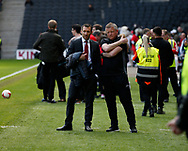 Sheffield Utd director Simon McCabe with Chris Wilder manager of Sheffield Utd during the English League One match at  Stadium MK, Milton Keynes. Picture date: April 22nd 2017. Pic credit should read: Simon Bellis/Sportimage