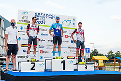 Jan Polanc, Jan Tratnik and Tadej Pogacar during medal ceremony at Sloveian Road Cycling Championship Time Trial 202, on June 17, 2021 in Koper, Slovenia. Photo by Grega Valancic / Sportida.