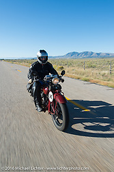Doug Jones riding his 1929 Indian 101 Scout during stage 12 (299 m) of the Motorcycle Cannonball Cross-Country Endurance Run, which on this day ran from Springville, UT to Elko, NV, USA. Wednesday, September 17, 2014.  Photography ©2014 Michael Lichter.