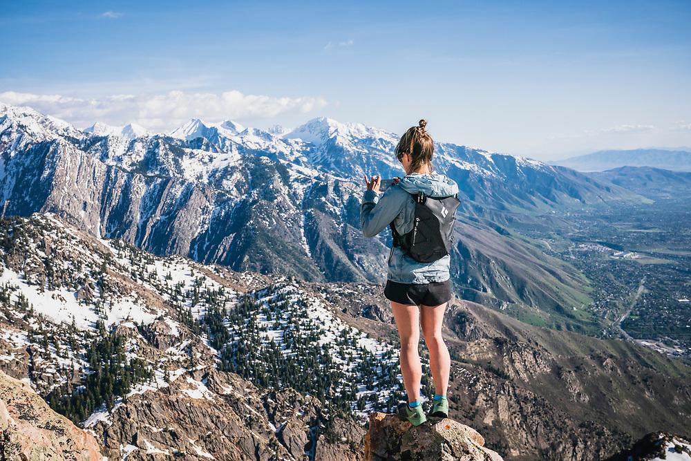 Hillary Gerardi on the summit of Mount Olympus, Wasatch Range, Utah.