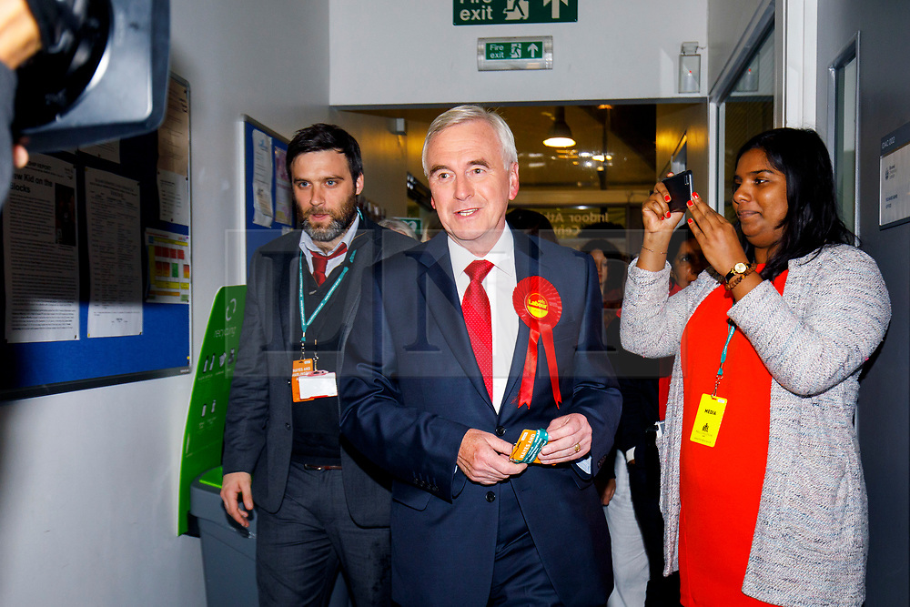 © Licensed to London News Pictures. 09/06/2017. London, UK. Shadow Chancellor JOHN MCDONNELL arrives at Hayes and Harlington election count centre in Brunel University, west London on Friday 9 June 2017. Photo credit: Tolga Akmen/LNP