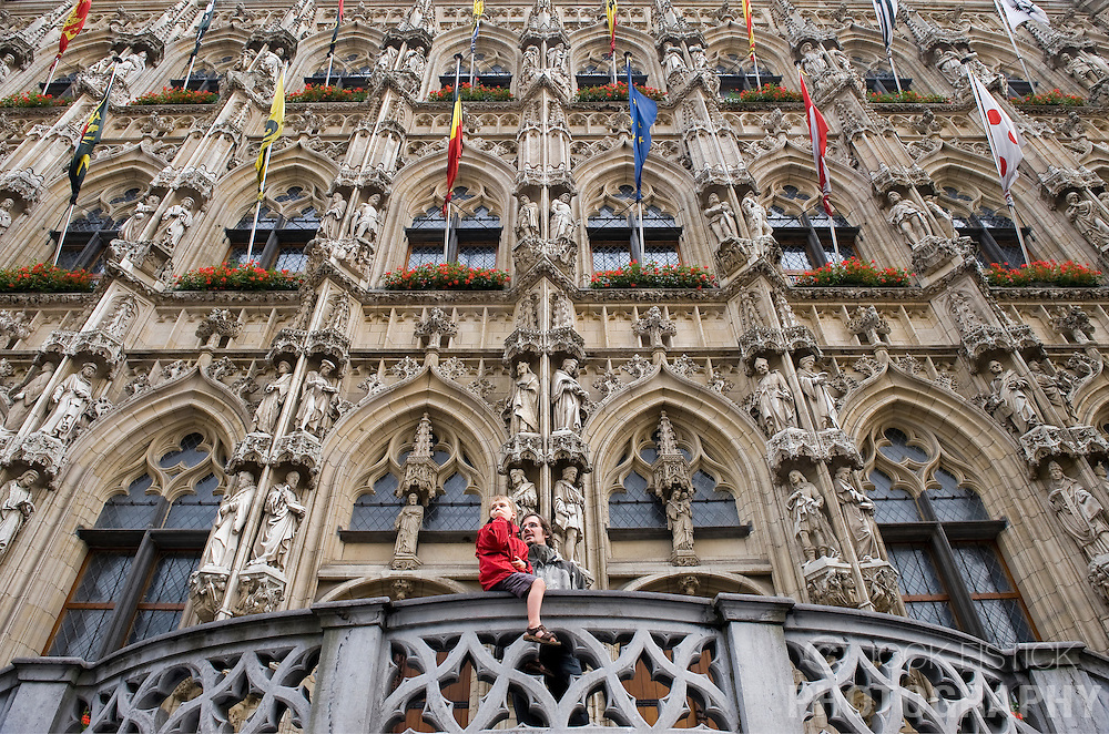 Site-seers enjoy the view from the balcony of the ornate city hall building, in Leuven, Belgium, Saturday, Sept. 13, 2008.  (Photo © Jock Fistick)
