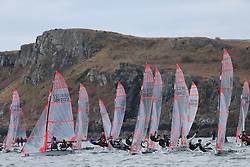Day 1 of the RYA Youth National Championships 2013 held at Largs Sailing Club, Scotland from the 31st March - 5th April. ..29er Fleet Start..For Further Information Contact..Matt Carter.Racing Communications Officer.Royal Yachting Association.M: 07769 505203.E: matt.carter@rya.org.uk ..Image Credit Marc Turner / RYA..