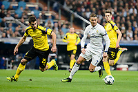 Real Madrid's Cristiano Ronaldo and Borussia Dortmund Sokratis Papastathopoulos and Julian Weigl during the UEFA Champions League match between Real Madrid and Borussia Dortmund at Santiago Bernabeu Stadium in Madrid, Spain. December 07, 2016. (ALTERPHOTOS/BorjaB.Hojas)