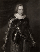 Henry, Prince of Wales (1594-1612) 'the paragon prince', eldest son of James I & VII. Died of Typhoid (?) fever after swimming in the River Thames. A staunch Protestant, his early death changed the course of British, and perhaps European history. Engraving.